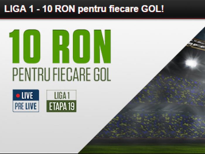 10 RON pentru fiecare gol din Liga 1 - Detalii!