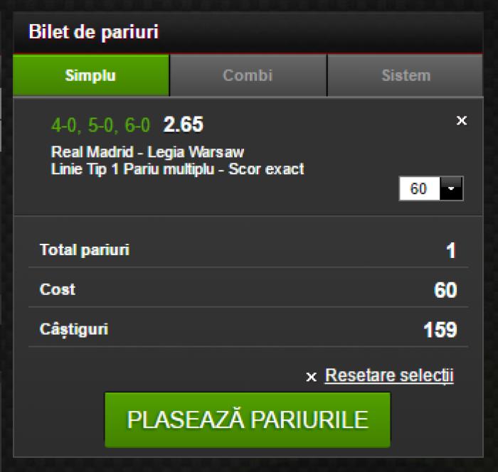 Real Madrid - Legia, pariu de cota 2.65!