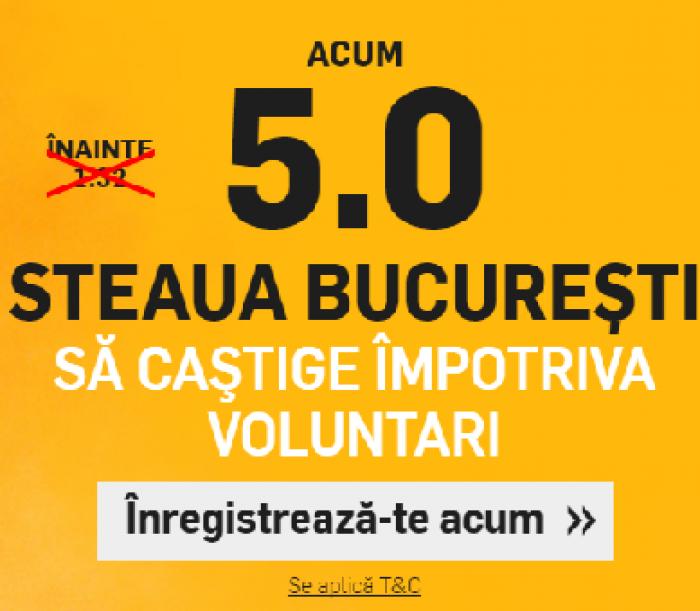 Steaua - Voluntari. Cota 5.00 pentru 1 solist!