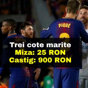 Barcelona - Real Madrid: cotele marite ne aduc in total 900 RON cu doar 25 RON mizati