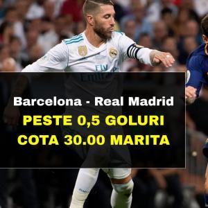COTA 30.00 marita la Barcelona - Real Madrid pentru minim un gol in meci