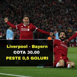 Cota 30.00 marita pentru PESTE 0,5 GOLURI in Liverpool - Bayern