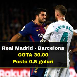 Cota 30.00 marita pentru PESTE 0,5 GOLURI la Real Madrid - Barcelona