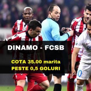 COTA 35.00 marita pentru PESTE 0,5 GOLURI la Dinamo - FCSB