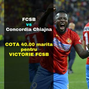 COTA 40.00 marita pentru victoria lui FCSB contra Concordiei Chiajna acasa