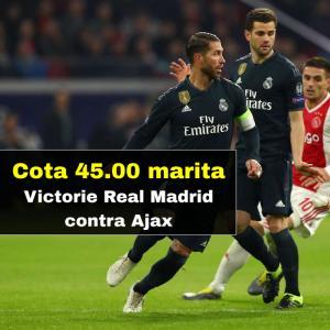 Cota 45.00 marita pentru Victorie Real Madrid contra Ajax