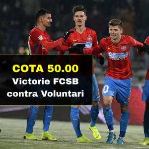 COTA 50.00 marita pentru victorie FCSB contra Voluntari