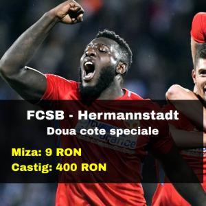 Doua cote marite la FCSB - Hermannstadt (miza 9 RON, castig 400 RON)