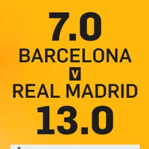 EL CLASICO - Barcelona cota 7.00 si Real Madrid cota 13.00