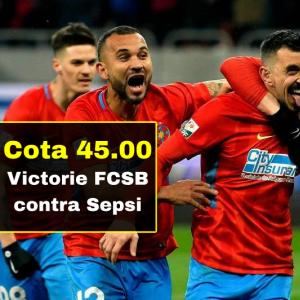 FCSB - Sepsi: cota 45.00 marita pentru victoria gazdelor