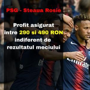 Profit asigurat intre 290 si 490 RON indiferent de rezultatul meciului PSG - Steaua Rosie