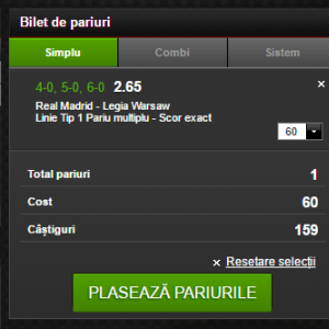 Real Madrid - Legia, pariu de cota 2.65!