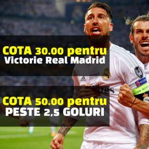 Real Madrid - Plzen: COTA 30 pentru 1 solist si COTA 50 pentru minim 3 goluri
