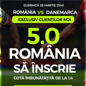 Romania - Danemarca. Cota 5.00 pentru ai nostri sa marcheze
