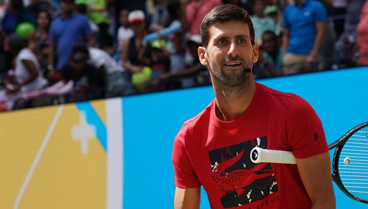 Novak Djokovic in practice at US Open 752x428