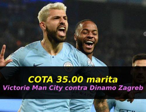 COTA 35.00 marita pentru victoria lui Man City contra lui Dinamo Zagreb