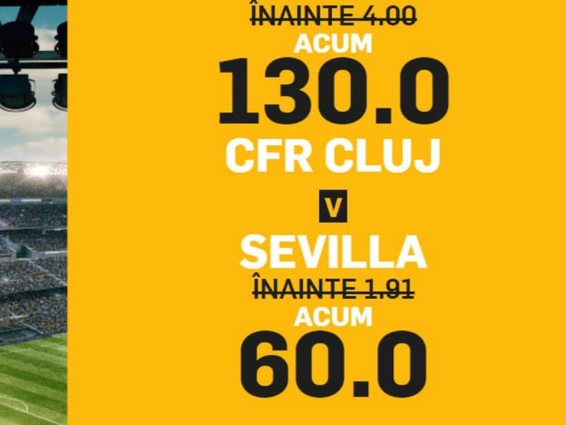 Duelul CFR Cluj vs Sevilla aduce cote marite la victorie